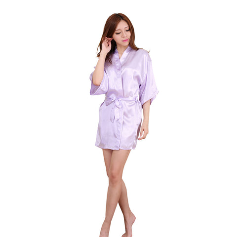 Women's Kimono Robe Knee Length Bridal Lingerie Sleepwear Short Satin Robe - groomin101