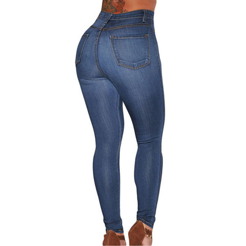 Women's High Waist Skinny Jeans Casual Slim Cotton Denim Trousers Blue Medium Wash - groomin101