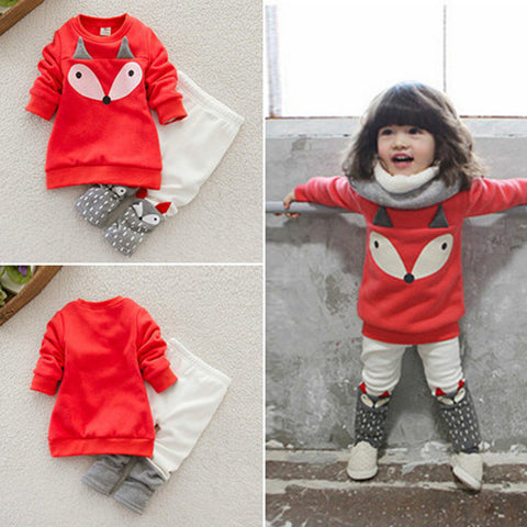 Baby Boy Or Girl Fox Long Sleeve Sweater shirt Top+Pants Outfits - groomin101