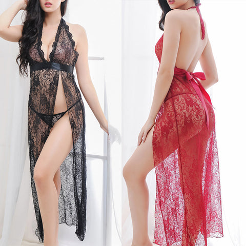 Lingerie Women Sexy Underwear Sleepwear Lace Dress  G-string Set - groomin101