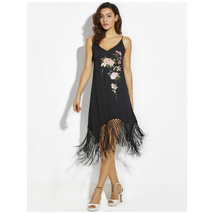Flower Black Halter Evening Style Bridal Slip Dress