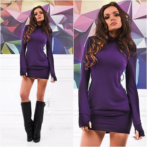 Sexy Women Bodycon Long Sleeve Evening Party Short Mini Dress - groomin101