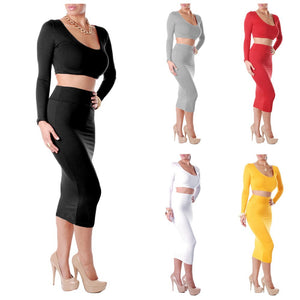 Sexy Women Two Pieces Long Sleeve Bodycon Crop Top Pencil Skirt Dress Twin Set Party Clubwear Grey