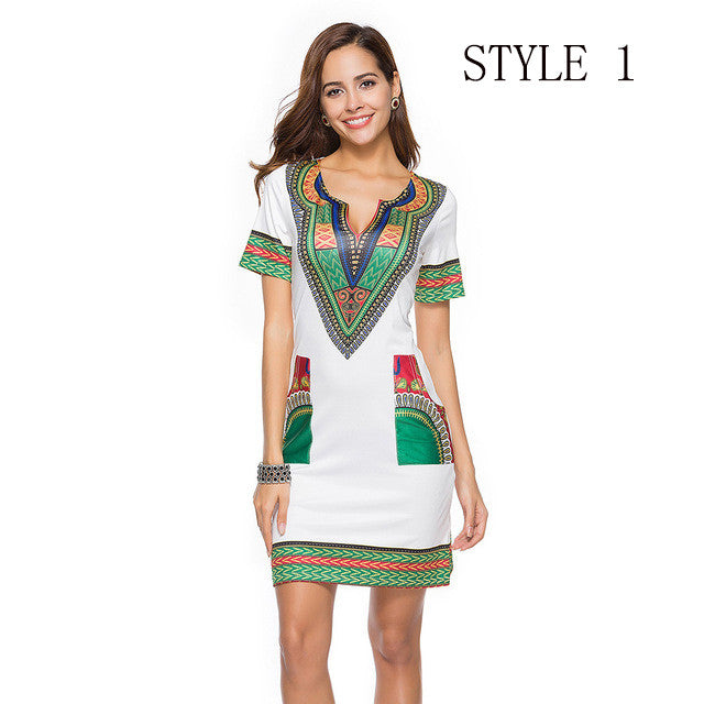 Women Dashiki Short V-Neck Sexy African Dresses - groomin101