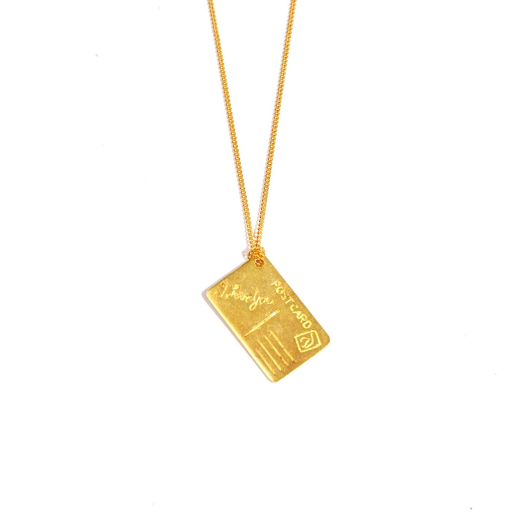 I Love you Postcard 24K Gold Plated