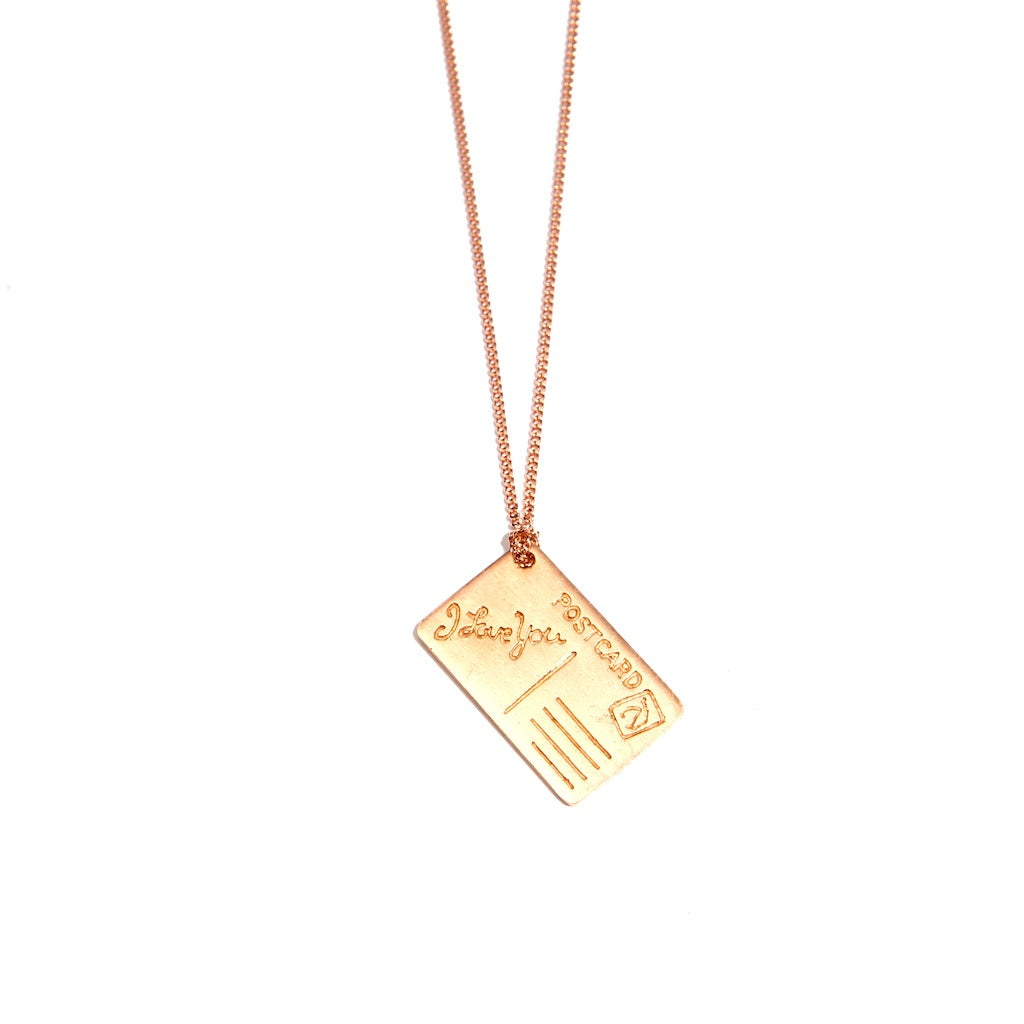 I Love You Postcard 18K Rose Gold Plated