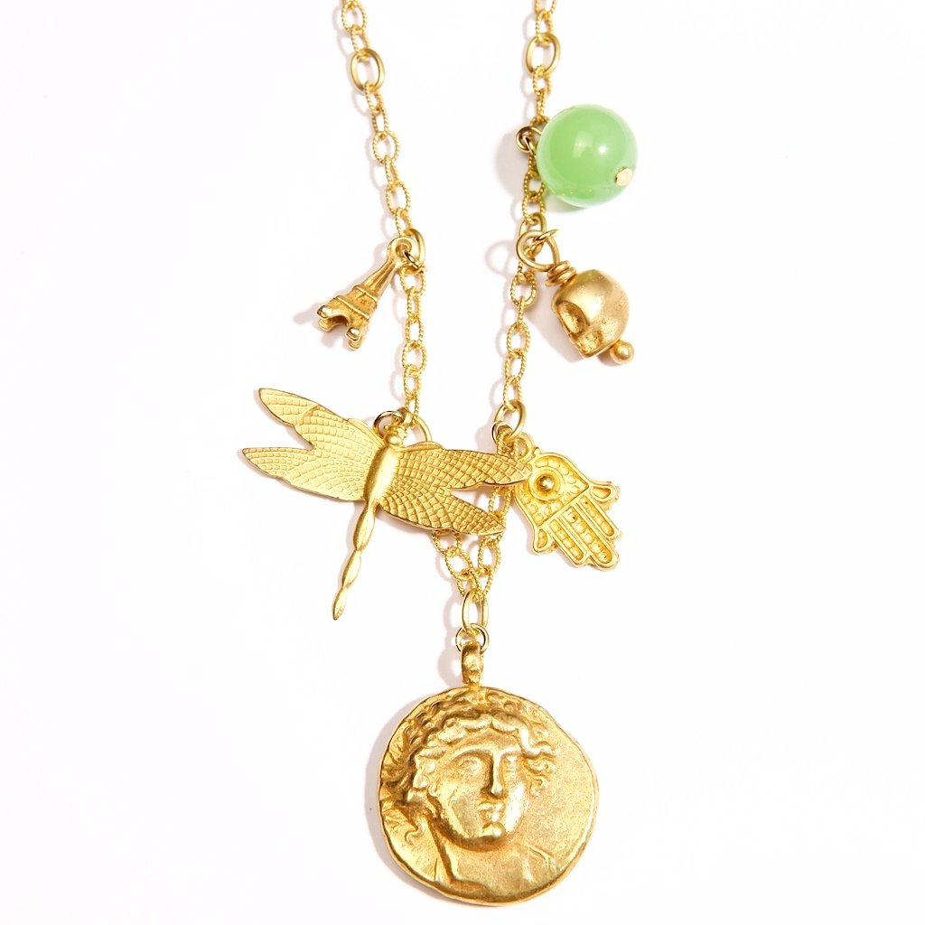 Franciska Journey Necklace 24K Gold Plated God of sun Coin.