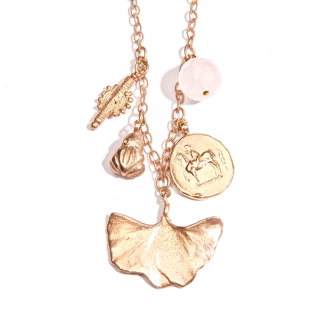 Franciska Journey Necklace 18K Rose Gold Plated With Gingko Leaf
