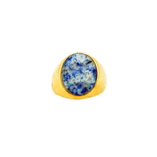 Lapiz Lazuliz Ring Gold White Blue Cloud Stone
