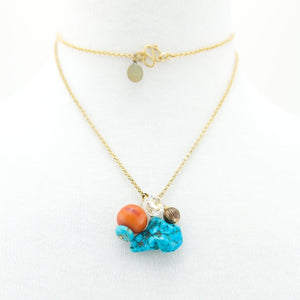 Turquoise Cluster on 24K Belcher Chain
