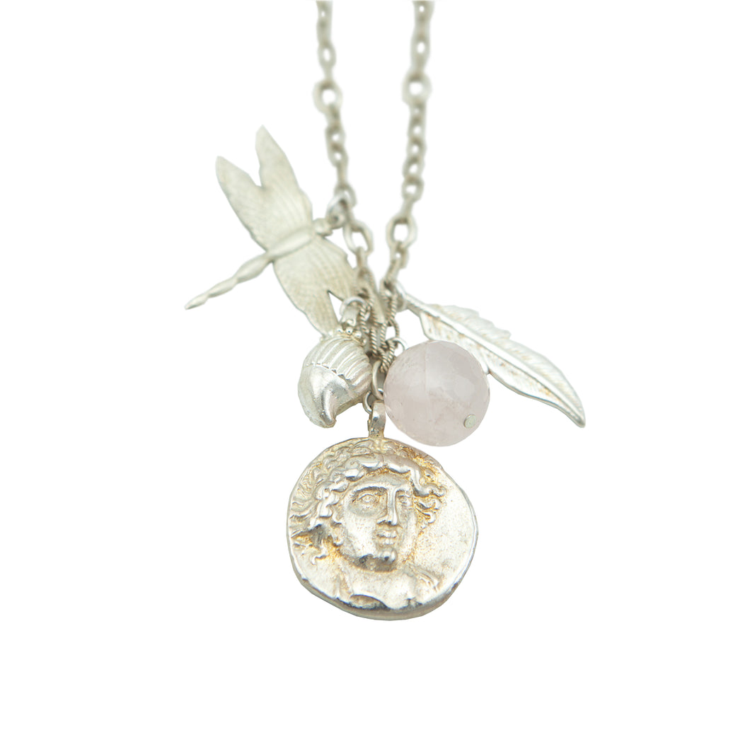 Franciska Journey Necklace Silver, God of Sun Silver coin with Rose Quartz and Feather