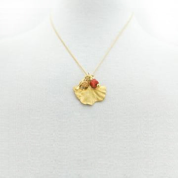 Gingko Leaf With a Journey Gold Necklace