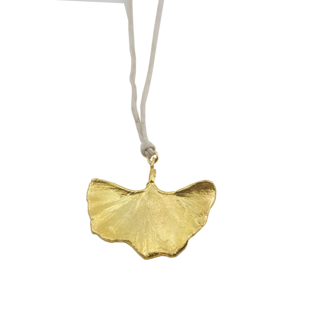 Gingko Leaf Gold on Natural Hemp Cord