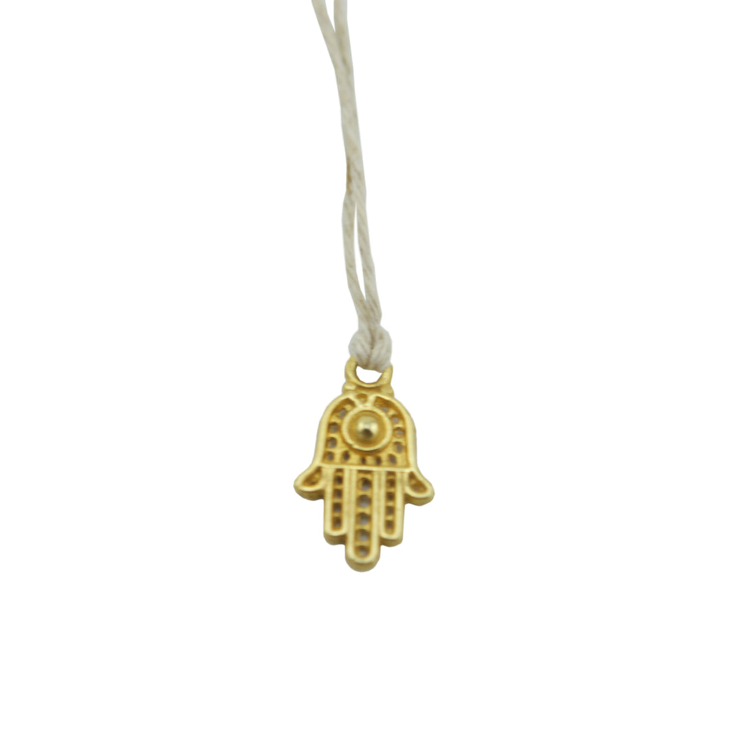 Hamsa Hand Gold on Natural Hemp