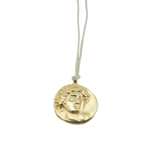 God of Sun Coin Gold on Natural Hemp Cord