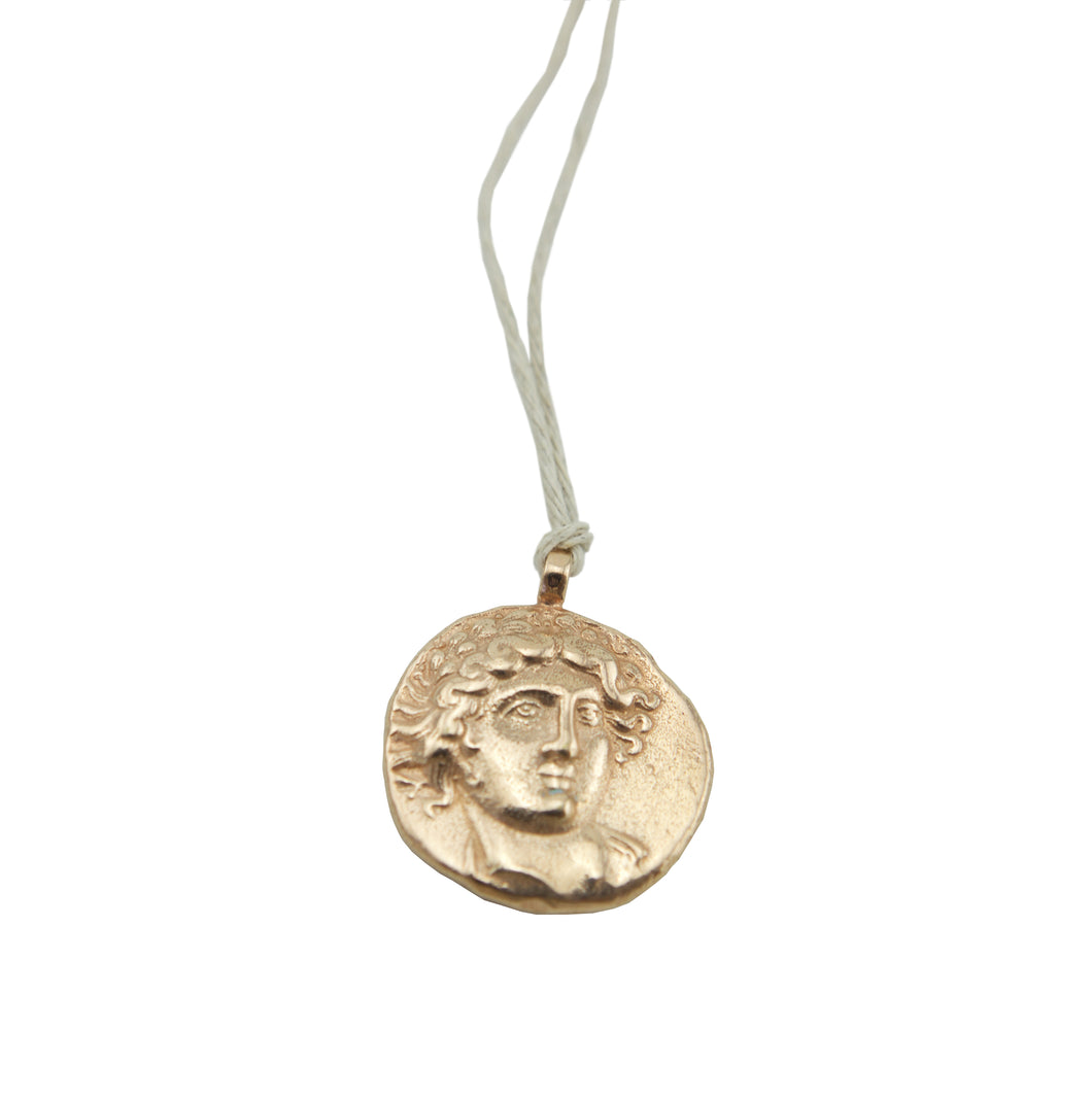 God of Sun Coin Rose Gold on Natural Hemp Cord