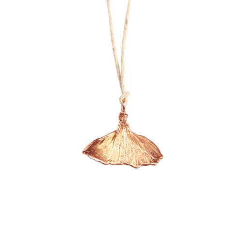 Whale Tale 18 Carat Rose Gold Plated on Natural Brown Hemp Cord