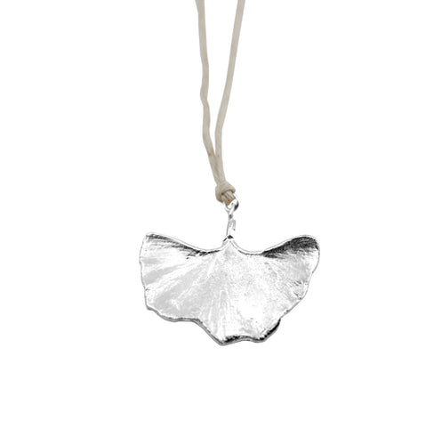 Gingko Leaf Silver on Natural Hemp Cord