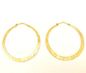 Hand Beaten Hoop Earrings Large Gold