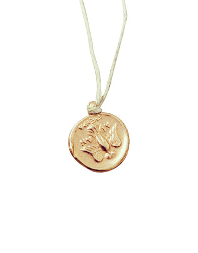 Goddess of Good Luck Gold Coin natural hemp cord