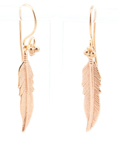 Feather Earring Large Rose Gold