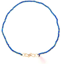The Blue Lapis Semi Precious Choker Silk Rose Gold Plated Clasp