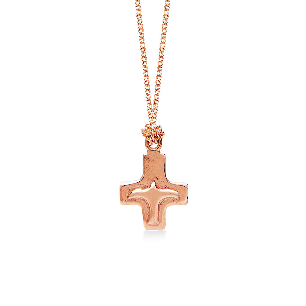 Cross With Peace Bird on 18 Inch Gold Necklace Gold