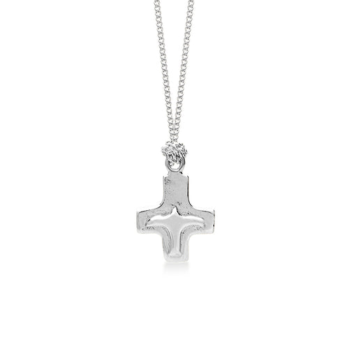 Cross Silver with Peace Bird 18 inch Silver Necklace