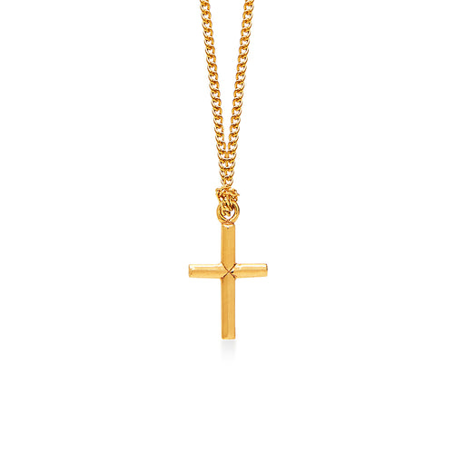 Cross Gold on 18 Inch Gold Plated Necklace