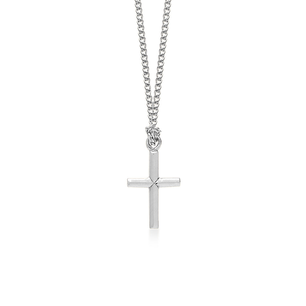 Cross Silver on a 18 inch Silver Plated Necklace