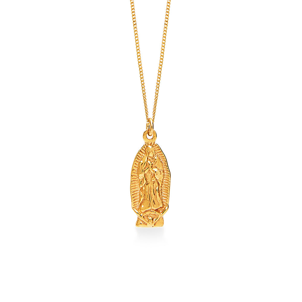 Ancient Guadalupe Maria 18K Rose Gold Plated Necklace