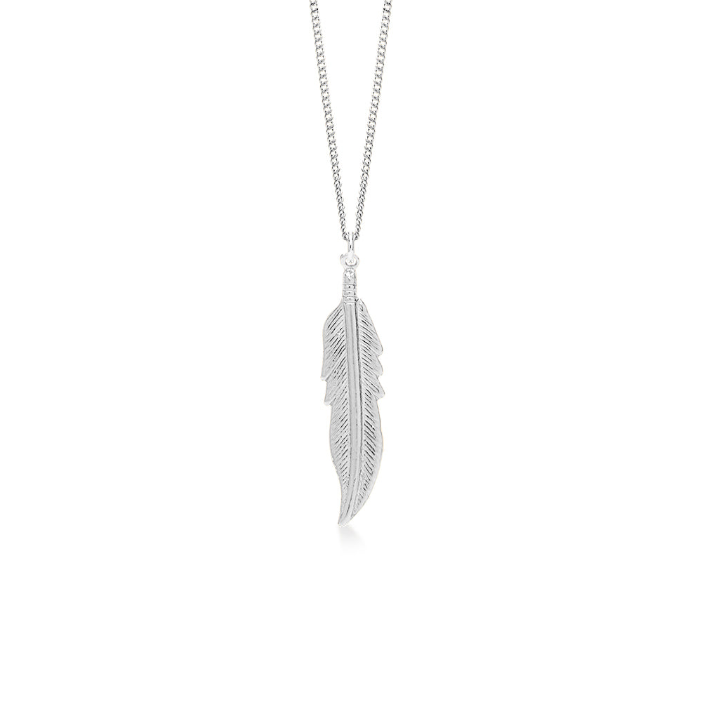 Feather Silver Plated Large