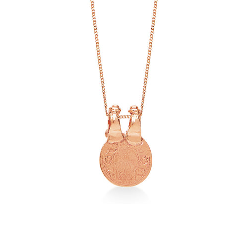 Double Clasp Coin Fine Rose Gold