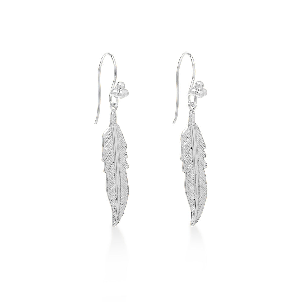 Feather Large Earring Sterling Silver