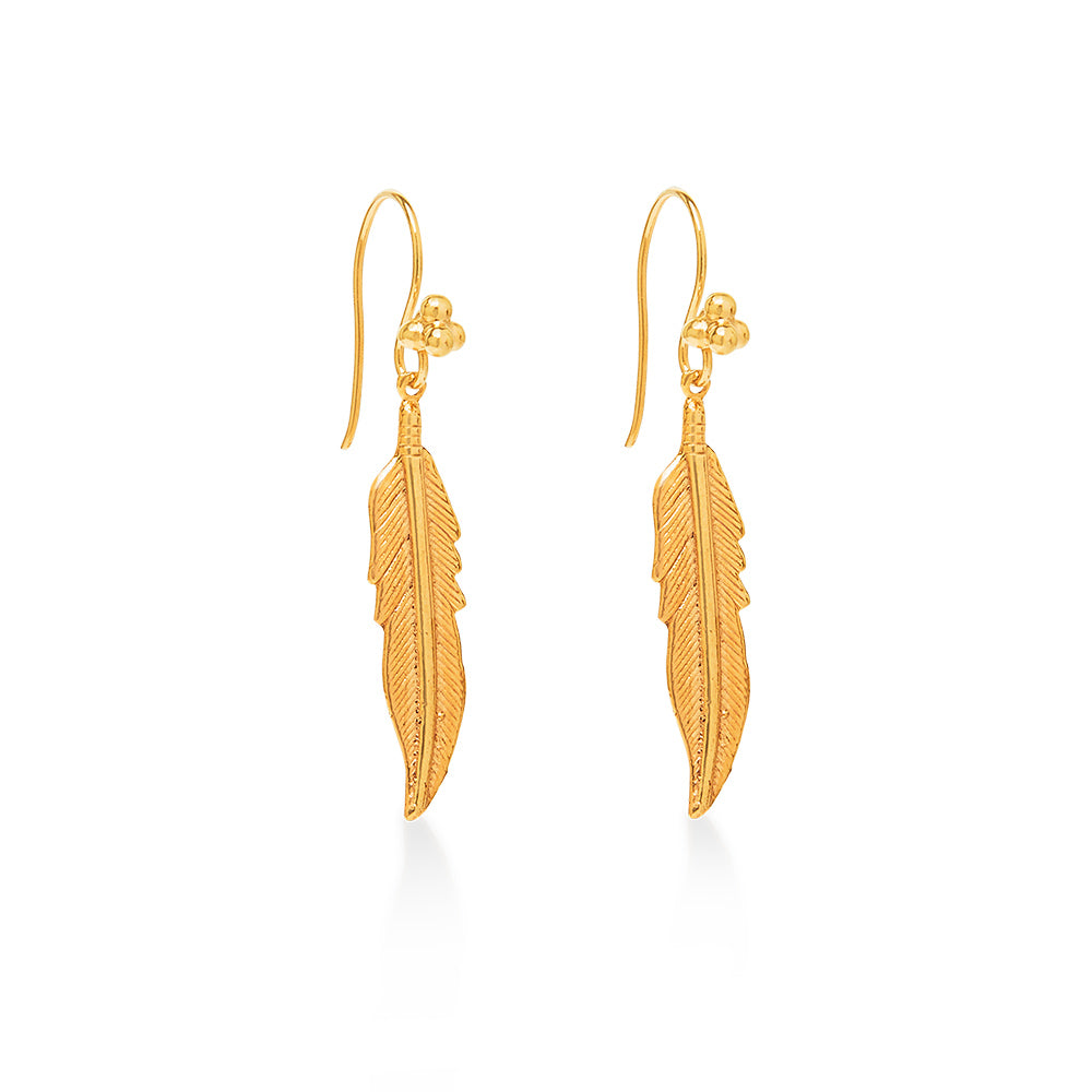 Feather Earring Large Gold