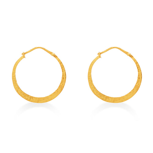 Hand Beaten Hoop Earrings Small Gold