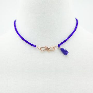 The Cobalt Blue Swarovski Glass Beaded Choker with Rose Gold Plated Clasp