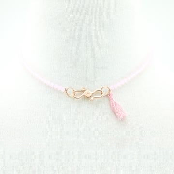 The Powder Pink Swarovski Glass Beaded Choker On Silk Rose Gold Plated Clasp