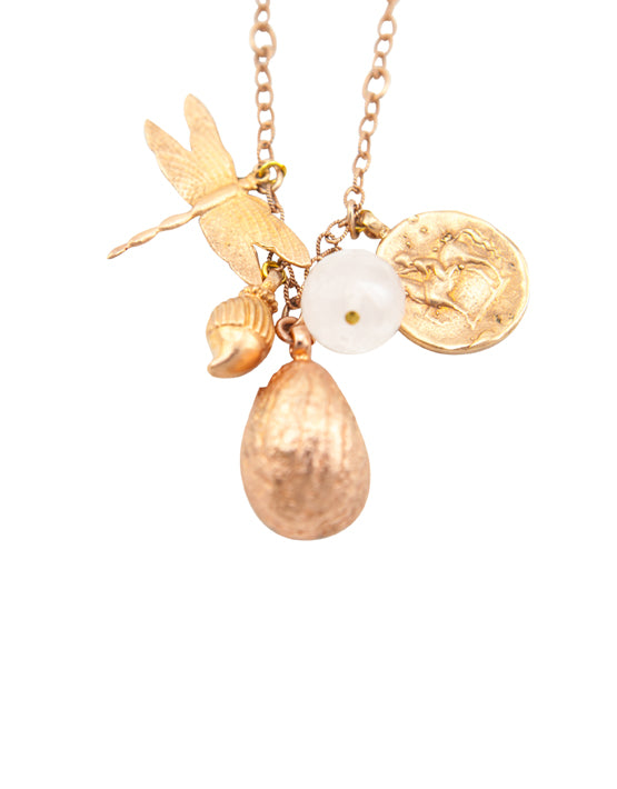Franciska Journey Necklace Rose Gold, Shell Pendant,Rose Quartz