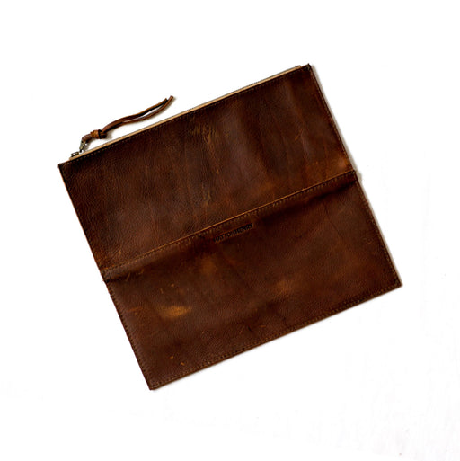 Henna Brown Leather Foldover Clutch • Oil Tan Leather Pouch • Minimal Rustic Bag • Distressed Leather Clutch • Soft Brown Leather Clutch