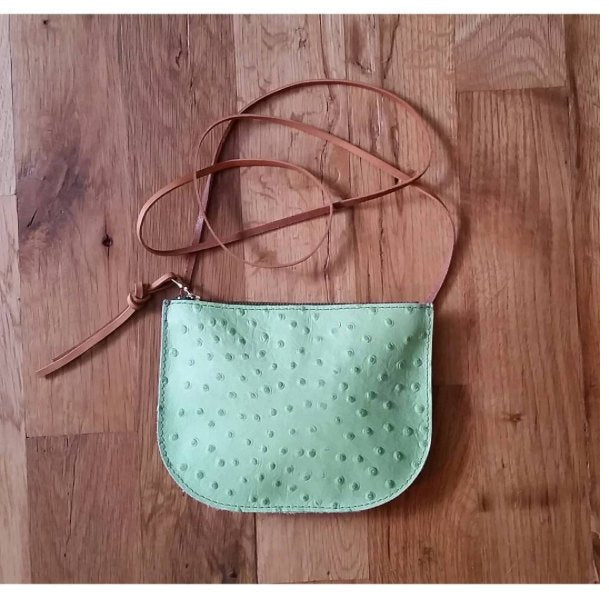 SALE • PRICKLY PEAR Crossbody • Green Prickly Pear Bag • Ostrich Embossed Zipper Bag • Texas Hill Country