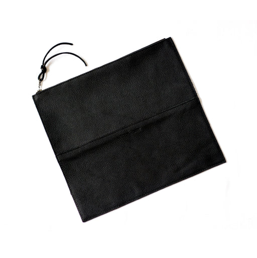FOLDOVER CLUTCH Onyx Black • Pebbled Leather Bag