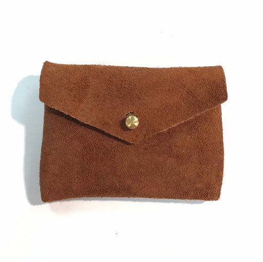 CARD WALLET Rust Brown Suede • Business Card Holder • Credit Card Case