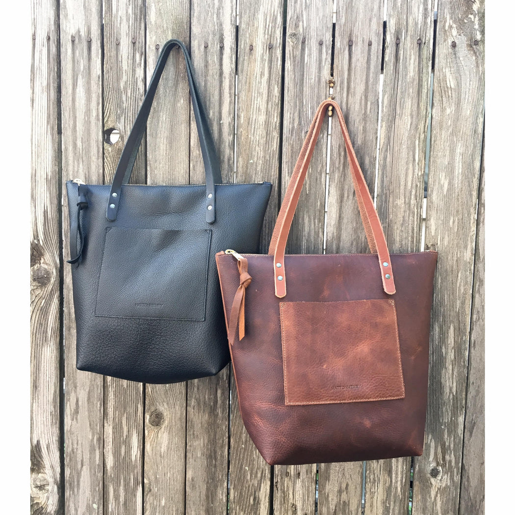 Large Leather Tote Bag • Zippered Carryall • Black or Brown • Leather Everyday Bag