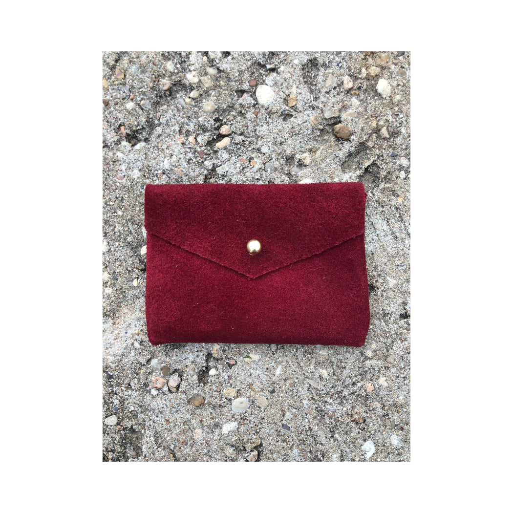 Limited Edition CARD WALLET Cherry Red Suede • Business Card Holder • Credit Card Case