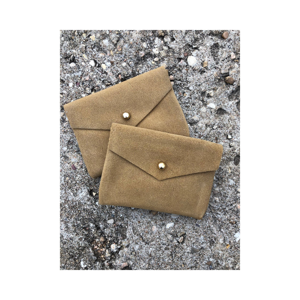 Limited Edition CARD WALLET Beige Suede Leather • Business Card Holder • Credit Card Case