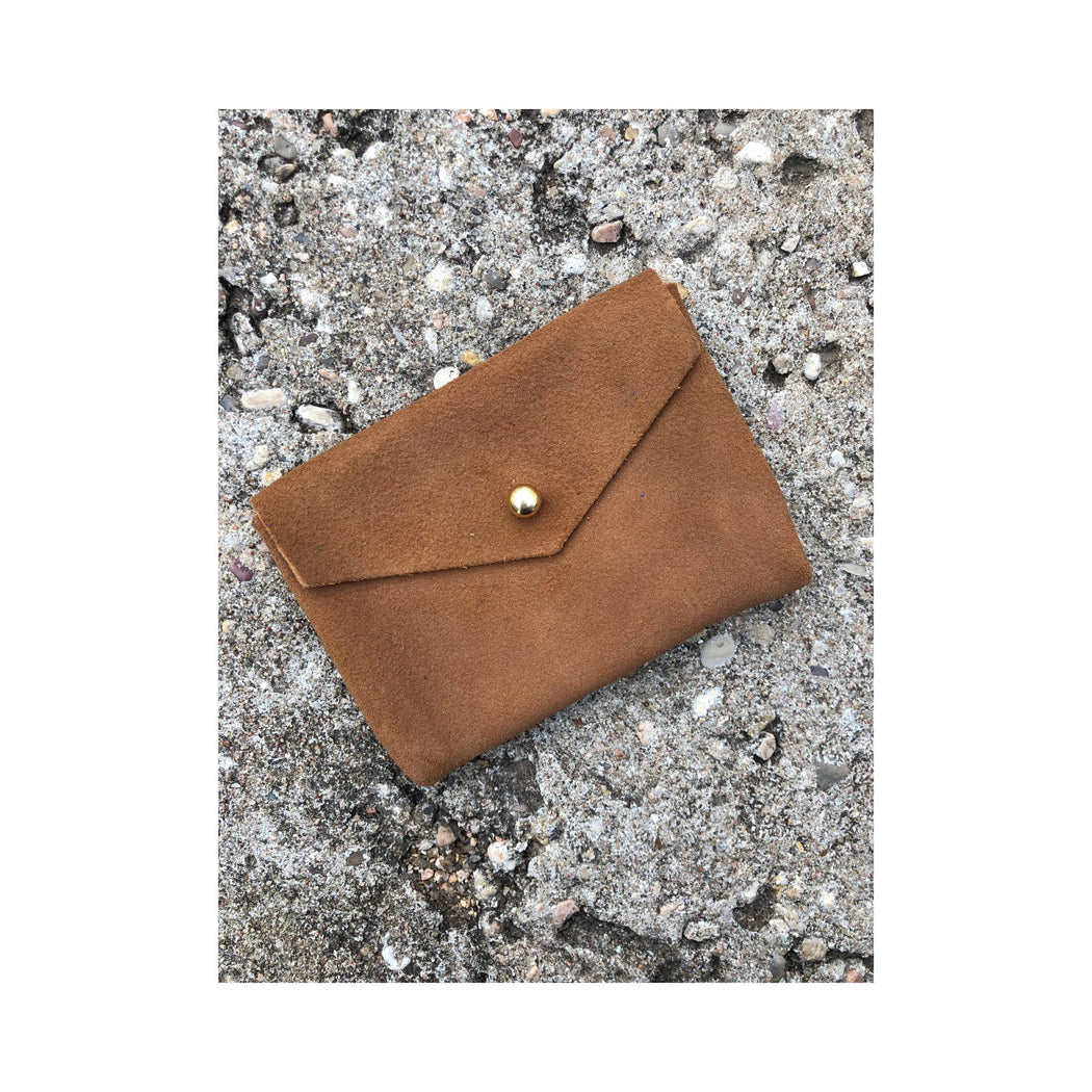 Limited Edition CARD WALLET Tan Suede Leather • Business Card Holder • Credit Card Case