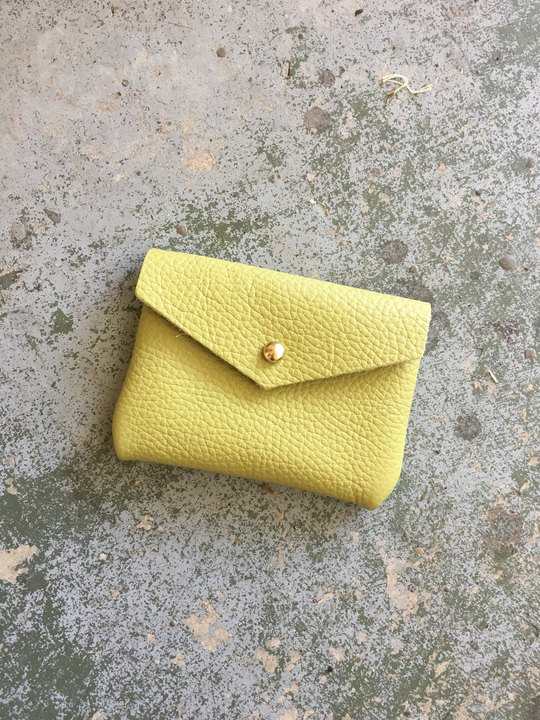 Limited Edition CARD WALLET Lime Green Leather • Business Card Holder