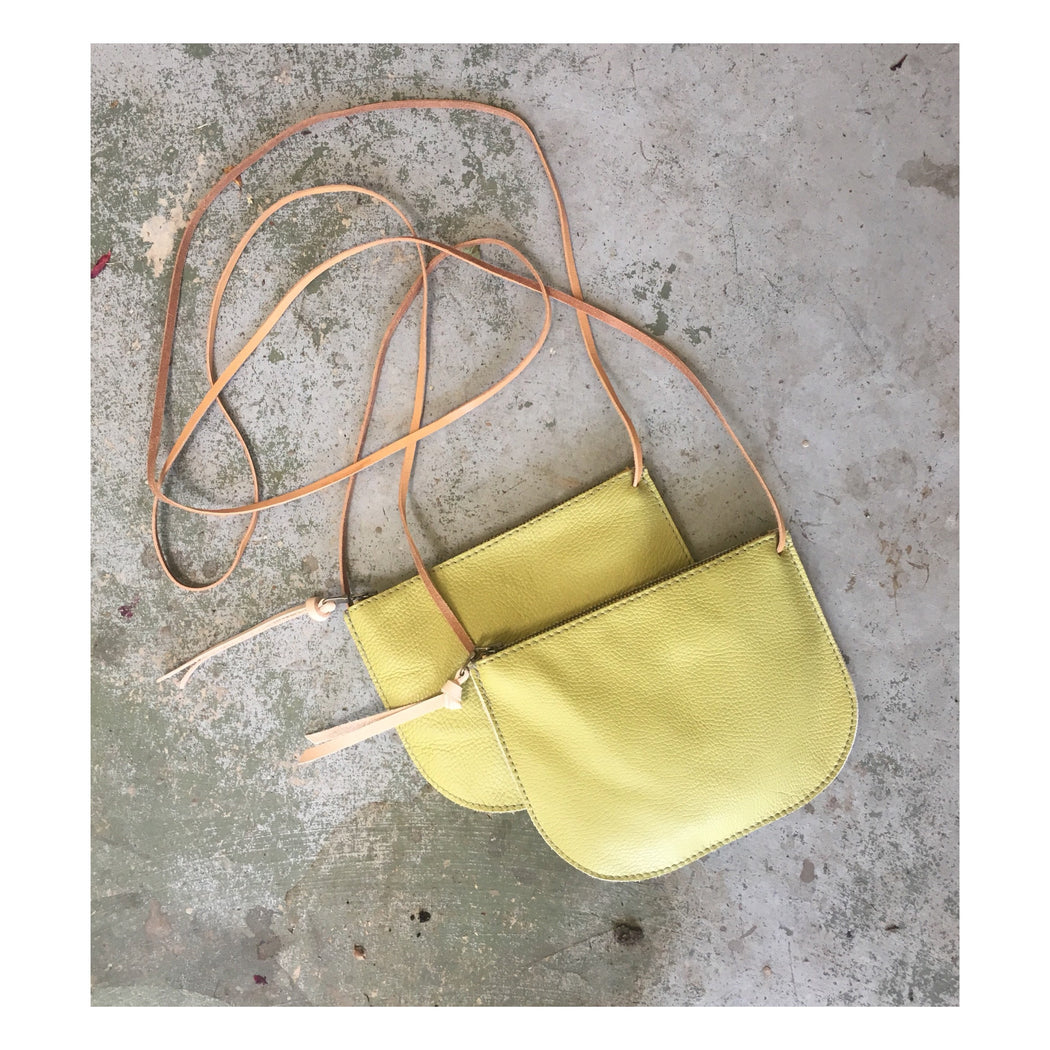 LIMITED EDITION Luna Crossbody Lime Green • Adorable Leather Bag