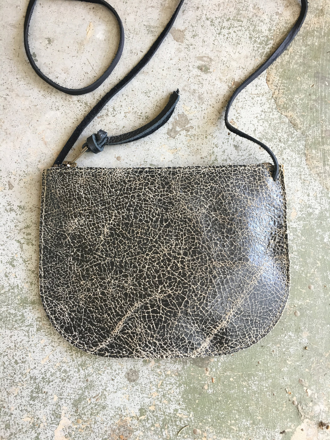 LIMITED EDITION Luna Crossbody Slate Crackle • Small Leather Bag